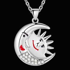 Оптовая чистого серебра симпатичные маска Ожерелье Для Женщин полный белый горный хрусталь Моды Колье луна…