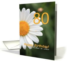 Mother in Law 80th Birthday card, white daisy card