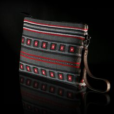 Free pattern created on our looms using for weaving different techniques from all over Greece. The backdrop is in gray and blends harmoniously with embroidery in red and black shades. Black Shades, Loom, Hand Weaving, Free Pattern, Greece, Backdrops, Embroidery, Wallet, Gray