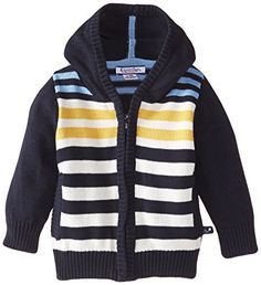 Kitestrings Baby Boys Hooded Zip Front Cardigan Sweater Navy 18 Months -- Read more reviews of the product by visiting the link on the image.