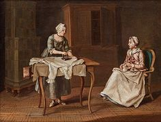 """PEHR HILLESTRÖM, """"En som stryker och en som stickar"""" Interiör från Näs herrgård.  Utförd omkring 1775. Duk 39,5 x 51,5 cm. Samtida förgylld och bronserad ram. 9752741 bukobject"""