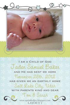 I am a Child of God Baby Boy Birth Announcement or Nursery Print $6.95