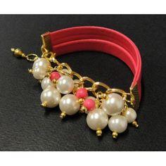 Pulsera de Moda con Perlas, Cadena de Aluminio y Piel Sintética