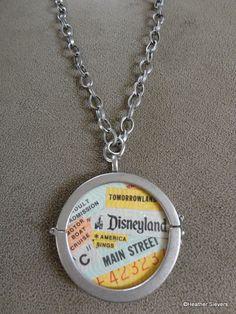 vintage disneyland ticket pendant
