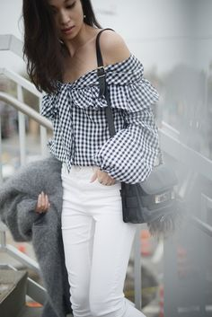 Lovers + Friends Gingham Off The Shoulder Top - Off The Grid | FOREVERVANNY.COM
