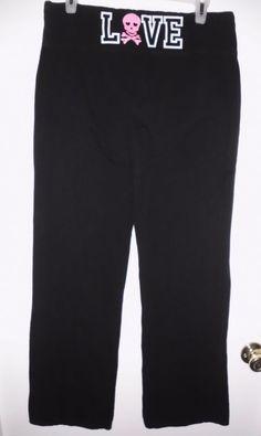 $9.99 FREE SHIPPING. SO Intimates Black Leggings Yoga Pants Love w/Skull & Rhinestones Sz XL Women GC #SO #Leggings