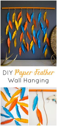 This paper feather wall hanging light is so easy to make for fall! Paper Wall Hanging, Paper Wall Decor, Wall Hanging Crafts, Diy Wall Art, Diy Wall Decor, Hanging Paper Decorations, Handmade Wall Hanging, Diy Decoration, Hanging Art