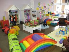 Nice daycare room, rugs to define spaces