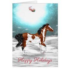 Pinto Arabian Horse Christmas Card - Xmascards ChristmasEve Christmas Eve Christmas merry xmas family holy kids gifts holidays Santa cards