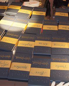 @Jennifer Larsen Letterpress  calligraphed starry notebooks for our guests