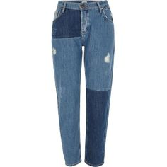 River Island Mid blue reworked patchwork boyfriend jeans (€42) ❤ liked on Polyvore featuring jeans, pants, bottoms, pantalones, blue, sale, women, blue boyfriend jeans, destroyed denim jeans and distressed jeans