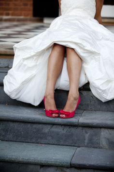 wedding pose idea hopefully with purple shoes