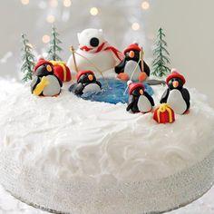 Christmas cake decoration: penguins and a polar bear - Good Housekeeping