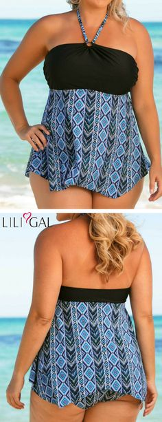 Plus Size Halter Printed Tankini Top and Panty   #liligal #plussize #plussizefashion #plussizeswimwear