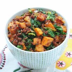 Chorizo, Kale & Butternut Squash Hash - SUBSTITUTE Butternut Squash or Acorn Squash for the sweet potato in this recipe.
