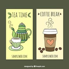 Tea and coffee banners Free Vector