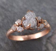 Raw Diamond Rose gold Engagement Ring Rough Gold Multi stone Wedding Ring diamond Wedding Ring Rough Diamond Ring byAngeline C0114 - Gemstone ring by Angeline