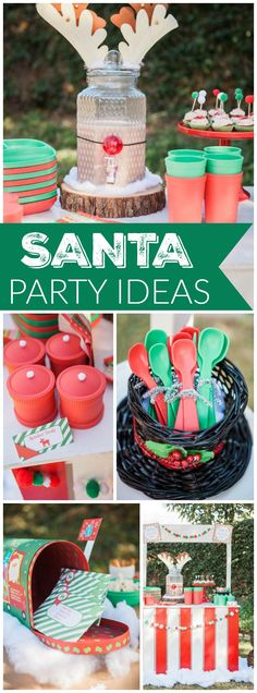 You have to see this festive party where kids wrote their letters to Santa! See more party ideas at CatchMyParty.com!