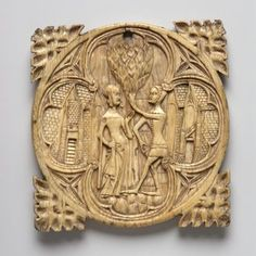 depicts love-scene in garden; man and woman hold heart; scene enclosed in quatrefoil; four leaves project from rim. © The Trustees of the British Museum Gothic Mirror, Ancient Artefacts, Leaf Projects, Medieval World, 14th Century, Stone Carving, British Museum, Middle Ages, Les Oeuvres