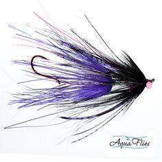 Steelhead Intruders - Set of 4 Purple/Black Aqua Flies Rhea Intruders - Gamakatsu Stinger Hook