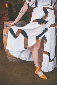 Gorgeous maxi wrap dress with geometric pattern from SheIn, perfect for Summer and Fall fashion | Stile.Foto.Cibo