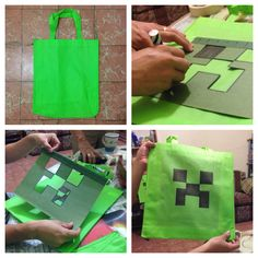 Bolsa de creeper #minecraft DIY bag Minecraft Bag, Minecraft Party Favors, Minecraft Party Decorations, Minecraft Birthday Cake, Minecraft Creations, Birthday Party Games For Kids, 6th Birthday Parties, Boy Birthday, Mine Craft Party