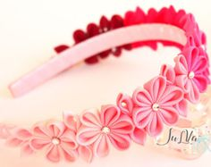 Kanzashi Fabric Flower headband.  Rosemauve lt.pink and mint.