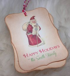 Christmas  Custom Tags  Happy Holidays  Old World by PaperAndWren