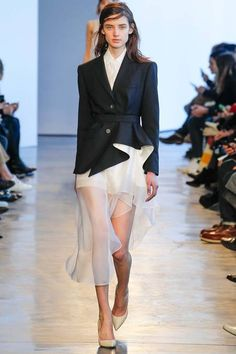Theory Fall 2014 RTW. #Theory #Fall2014 #NYFW shirt dress with sheer overlay. blazer with structured ruffles at hip. black and white.