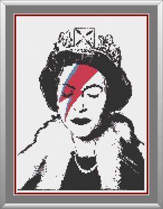 PATTERN: Elizabeth Sane Banksy cross stitch by LittleAndLittle -- street art, graffiti cross stitch pattern, Queen Elizabeth II, royalty, parody