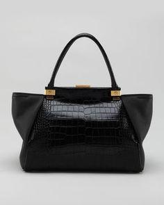 ShopStyle.com: Lanvin Trilogy Calfskin Tote Bag, Black Sold Out