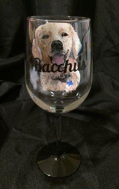 Custom Dog Wine Glass by thepaintedflower on Etsy