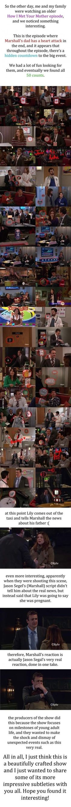 Hidden Countdown in 'How I Met Your Mother' - this is one of my favorite episodes. Jason Segal owned the final scene <3