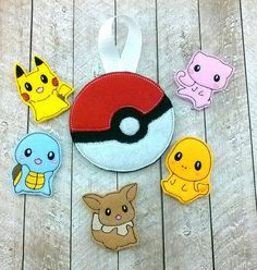 Pokemon finger puppet set pokeball goodie by FourBeesEmbroidery