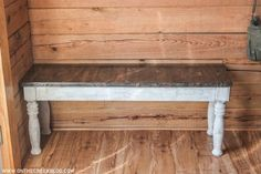 Diy Outdoor Furniture, Repurposed Furniture, Outdoor Decor, Recycled Materials, Furniture Makeover, Valspar, Woodworking Projects, Dining Bench, Entryway Tables