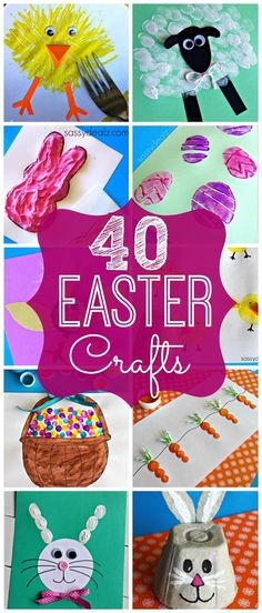 40 Easter Crafts for Kids #Easter art projects (Chicks, Sheep, Bunnies, Eggs, Carrots, and more!) | http://CraftyMorning.com