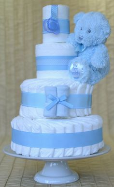 Baby Boy Diaper Cake  Light Blue with 'My First by SweetCheeksDB, $75.00