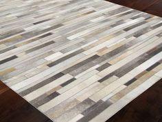 Cowhide Patchwork Rug Grey Shades