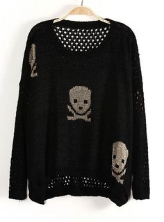 Black Long Sleeve Hollow Skull Pattern Sweater