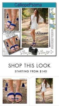 """ON SALE Blue fringe lace up gladiator sandals, Swarovski sandals, beaded sandals, luxury boho sandals, Ancient Greek sandals, 'Blue Dreams'"" by sabinn ❤ liked on Polyvore"