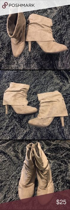 """👁🗨Cream Fold-over Boots Fold-over style boots with 3"""" heels. Worn twice. JustFab Shoes Heeled Boots"""