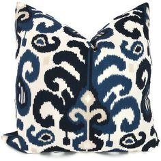 Duralee Blue Ikat Decorative Pillow Cover 18x18 20x20 by PopOColor, $35.00