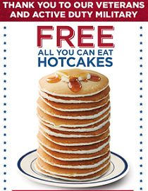 FREE Pancakes for Veterans and Military at Bob Evans on 2/17 on http://hunt4freebies.com