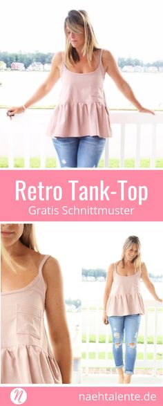 Retro Tank Top für Damen mit Rüschen und Brusttasche - Gratis Schnittmuster mit Anleitung ✂️ Nähtalente - Das Magazin für Hobbyschneider/innen ✂️ Lovely woman tank top with lots of charming details. Free sewing pattern and tutorial. ✂️ Nähtalente - Magazin for sewing and free sewing pattern ✂️ #nähen #freebook #schnittmuster #gratis #nähenmachtglücklich #freesewingpattern #handmade #diy via @Naehtalente