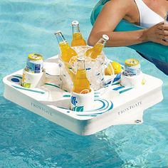 floating pool drink tray. kickass!    If only I had a hot tub I could use this in...