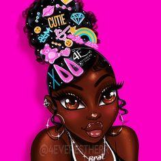Black Love Art, Black Girl Art, Black Girl Magic, Black Girl Cartoon, Dope Cartoon Art, Cartoon Smoke, White Aesthetic Photography, Drawings Of Black Girls, Black Art Pictures