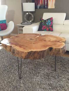 Wood Table Tree Trunk Table with Metal Legs, Wood Coffee table with hairpin legs, Coffee… Diy Coffee Table, Coffee Table Design, Diy Table, Wood Table, Tree Stump Coffee Table, Wood Stump Side Table, Log Side Table, Hairpin Leg Coffee Table, Trunk Side Table