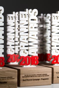 What do you think of our 3D printed vertical text awards? We especially like the red accent! Created for Channel Awards
