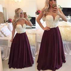 Sexy Burgundy Prom Dress 2017 with Pearls Long Plus Size Evening Dress Sheer Back