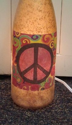 Peace Sign Decorative Lighted Wine Bottle by UniqueWineBottles, $20.00